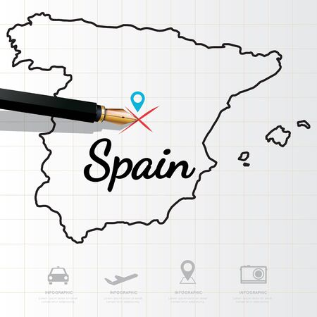 physical geography: Spain map Infographic Illustration