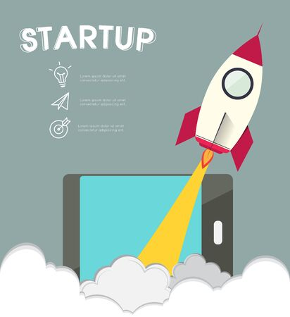 rocketship: Infographic rocketship for startup concept.