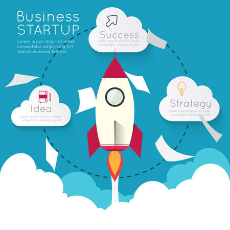 Infographic rocketship for startup concept.