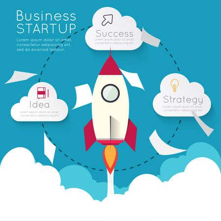 rocketship: Infographic rocketship for startup concept.