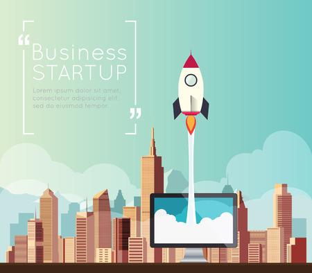 Rocketship on computer for startup media. Vektorové ilustrace