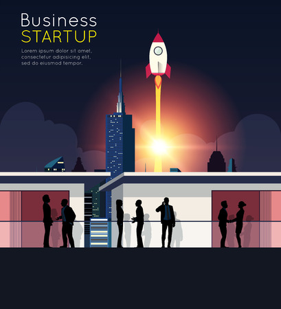 rocketship: Silhouette business meeting with rocketship for startup concept. Illustration