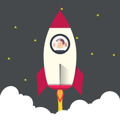 Rocketship on computer for startup media.