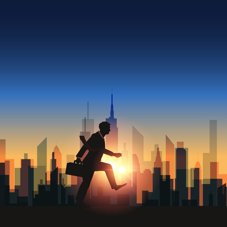 strive: Abstract businessman walking with sunset city background