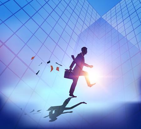 global work company: Abstract businessman walking with sunset city background