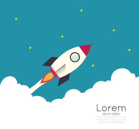 Rocketship op de computer voor het opstarten van de media. Stock Illustratie