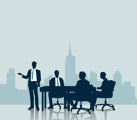 business meeting: Silhouette Business meeting with city background Illustration