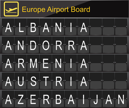navigational light: Europe airport digital boarding for Albania-Andorra-Armenia-Austria-Azerbaijan Illustration