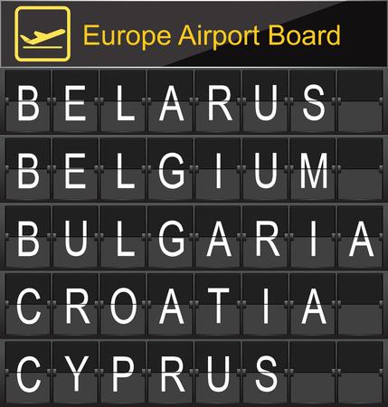 navigational light: Europe airport digital boarding for Belarus-Belgium-Bulgaria-Croatia-Cyprus