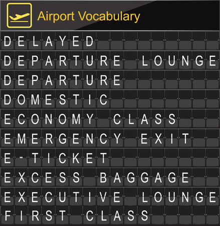 economy class: Airport Vocabulary on airport boarding
