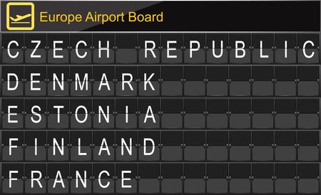navigational light: Europe airport digital boarding for Czech republic-Denmark-Estonia-Finland-France