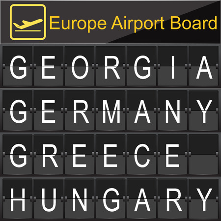navigational light: Europe airport digital boarding for Grorgia-Germany-Greece-Hungary