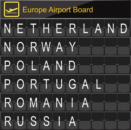 navigational light: Europe airport digital boarding for Netherland-Norway-Poland-Portugal-Romania-Russia