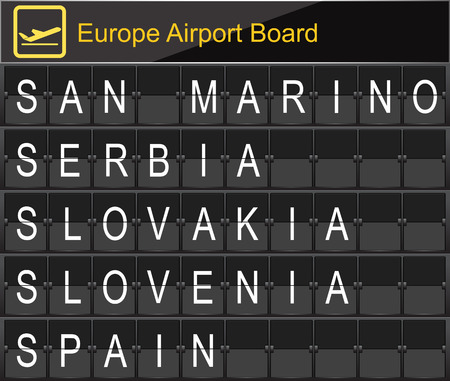 navigational light: Europe airport digital boarding for San marino-Serbia-Slovakia-Slovania-Spain