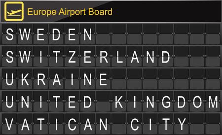 navigational light: Europe airport digital boarding for Sweden-Switzerland-Ukraine-United kingdom-Vatican city