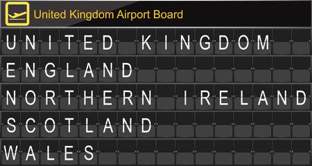 navigational light: Europe airport digital boarding for United kingdom-England-Northern ireland-Scotland-Wales Illustration