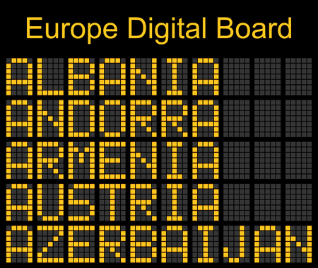 navigational light: Europe airport digital boarding for Albania-Andorra-Armenia-Austria-Azerbaijan Illustration