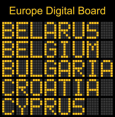 navigational light: Europe airport digital boarding for Belarus-Belgium-Bulgaria-Croatia-Cyprus