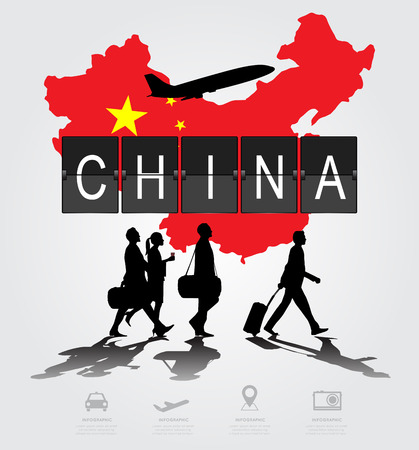 Infographic silhouette people in the airport for china flight Vector Illustration