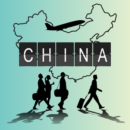 flight crew: Infographic silhouette people in the airport for china flight Illustration
