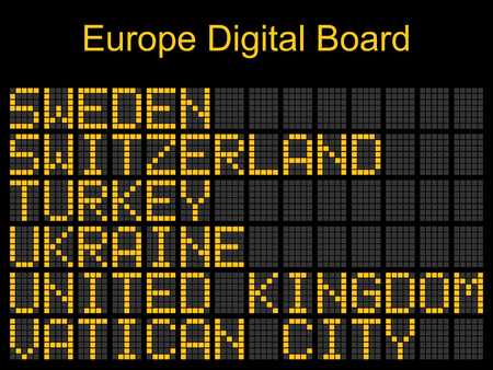 flight board: Europe airport digital boarding for Sweden-Switzerland-Ukraine-United kingdom-Vatican city