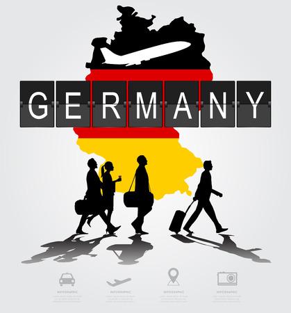 독일 디지털 보드에 실루엣 사람들입니다.