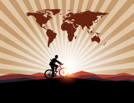 global work company: Businessman ride bicycle with worldman on mountain background.