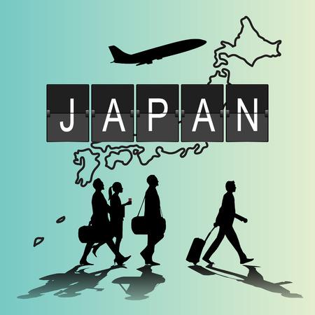flight crew: Silhouette people on japan digital board.