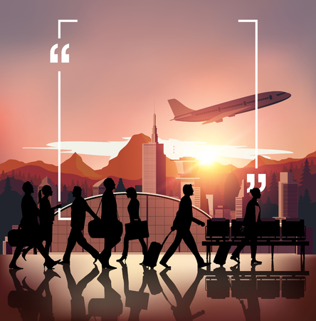 navigational light: Silhouette people on airport background