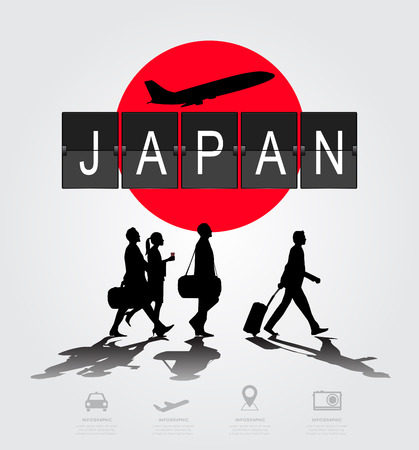 navigational light: Silhouette people on japan digital board.