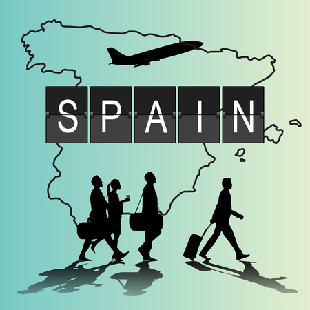 navigational light: Infographic silhouette people in the airport for new spain flight