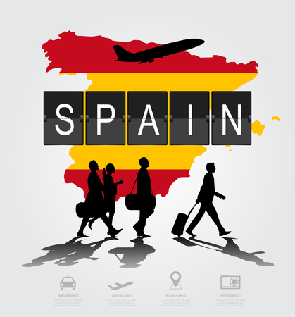 navigational light: Infographic silhouette people in the airport for spain flight Illustration