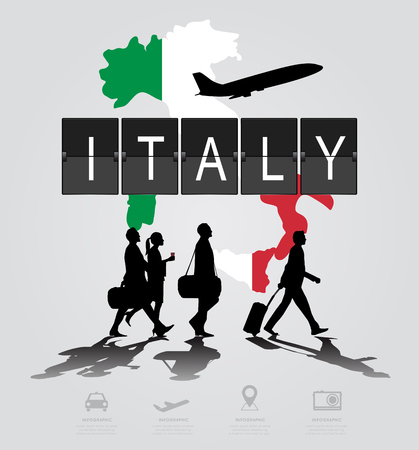 flight crew: Infographic silhouette people in the airport for italy flight Illustration