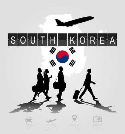 flight crew: Infographic silhouette people in the airport for South Korea flight