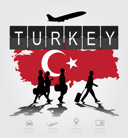 information medium: Infographic silhouette people in the airport for Turkey flight