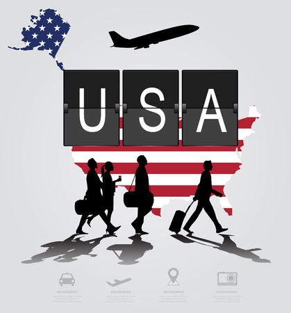 flight crew: Infographic silhouette people in the airport for USA. flight
