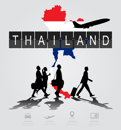 navigational light: Infographic silhouette people in the airport for thailand flight
