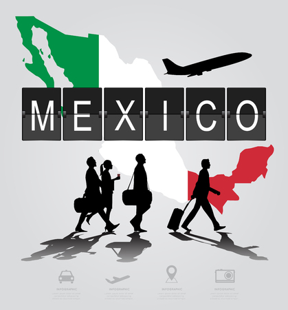 navigational light: Infographic silhouette people in the airport for Mexico flight