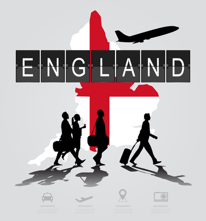 flight crew: Infographic silhouette people in the airport for England flight Illustration