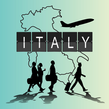 navigational light: Infographic silhouette people in the airport for new italy flight