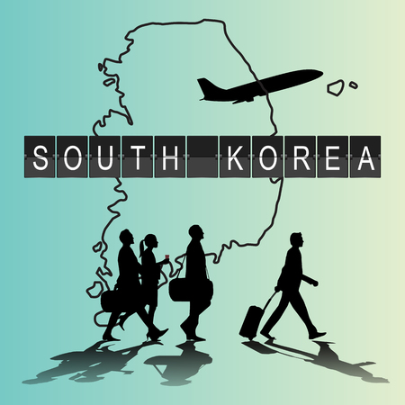 flight crew: Infographic silhouette people in the airport for south korea flight Illustration