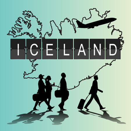 navigational light: Infographic silhouette people in the airport for Iceland flight Illustration