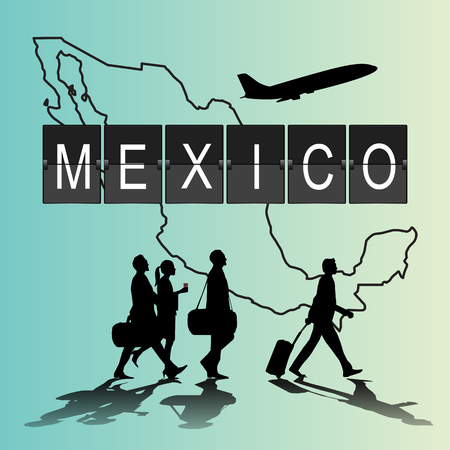 flight crew: Infographic silhouette people in the airport for Mexico flight