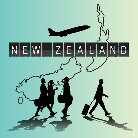 flight crew: Infographic silhouette people in the airport for New Zealand flight