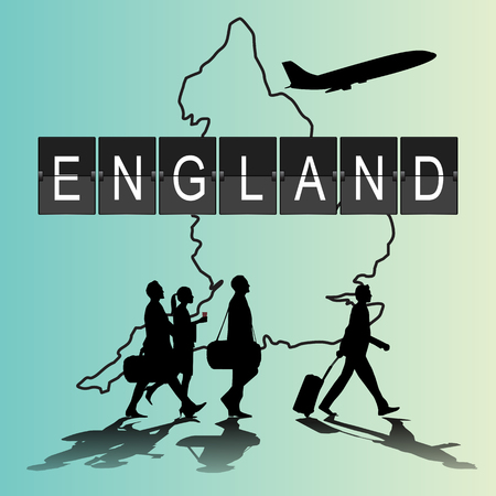navigational light: Infographic silhouette people in the airport for England flight Illustration