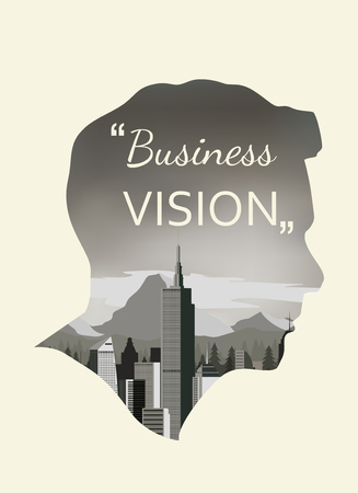 double exposure: Double exposure vector for business vision
