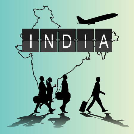 flight crew: Infographic silhouette people in the airport for india flight Illustration