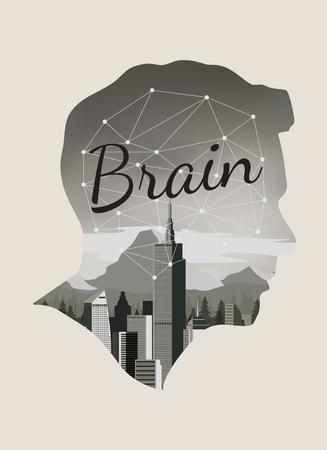 Double exposure vector for brain concept