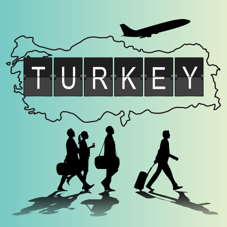 flight crew: Infographic silhouette people in the airport for new turkey flight Illustration