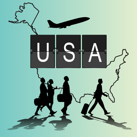 navigational light: Infographic silhouette people in the airport for usa. flight